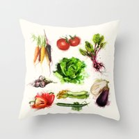 vegetables Throw Pillows featuring vegetables by Zazie-bulles