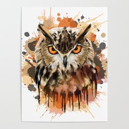 Stylized owl portrait Poster