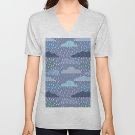 pattern with clouds. Vector pattern Unisex V-Neck