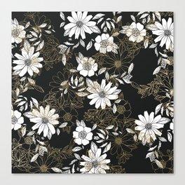 Modern black white faux gold elegant floral Canvas Print