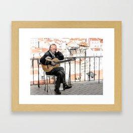The guitarist, Lisbon, Portugal Framed Art Print