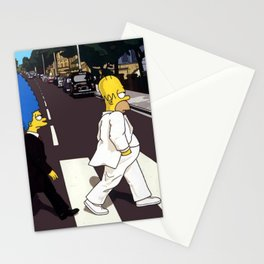 Crossing Abbey Road cartoon animation Stationery Cards
