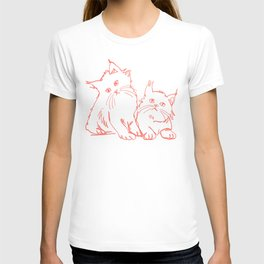 Katzen 001 / Minimal Line Drawing Of Two Cats T-shirt