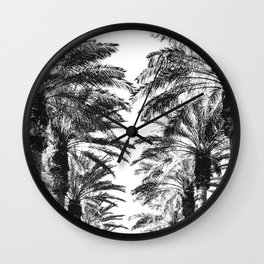 {2 of 2} Palm Tree Canopy // Topical Summer Beach Black and White Sky Wall Clock