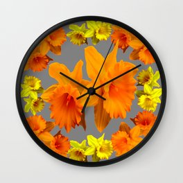 YELLOW-GOLD SPRING DAFFODILS & CHARCOAL GREY COLOR Wall Clock