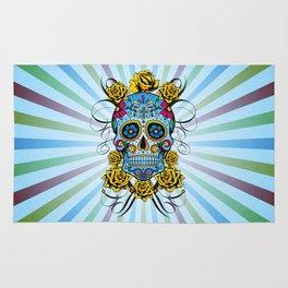 Sugar skull- Day of the dead- blue Rug