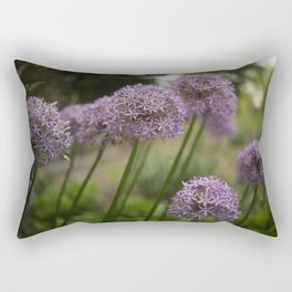 Purple Allium Ornamental Onion Flowers Blooming in a Spring Garden 5 Rectangular Pillow