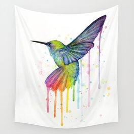 Hummingbird Rainbow Watercolor Wall Tapestry