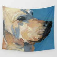 labrador Wall Tapestries featuring Mandy the Golden Labrador by Barking Dog Creations Studio