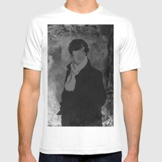 Sherlock White SMALL Mens Fitted Tee
