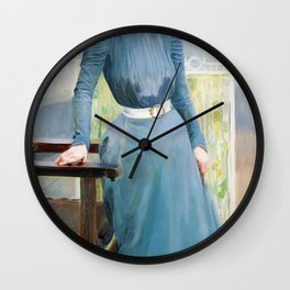 Joaquin Sorolla - Clotilde in a grey dress - Digital Remastered Edition Wall Clock
