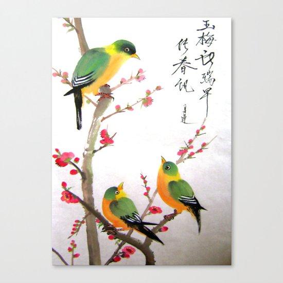 green bird chatting Canvas Print