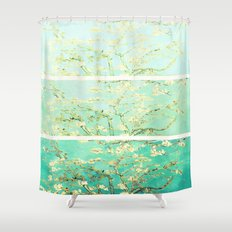 Vincent Van Gogh Almond Blossoms Panel art Aqua Green Shower Curtain