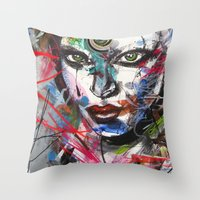 third eye Throw Pillows featuring third eye by yossikotler