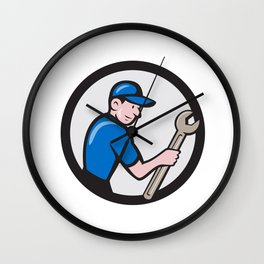Handyman Holding Spanner Circle Cartoon  Wall Clock