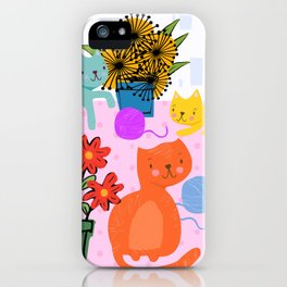 Three Curious Cats iPhone Case