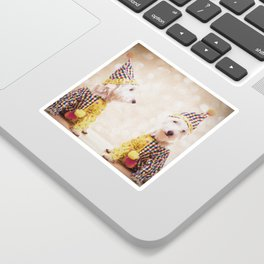 Circus Clown Dogs Sticker