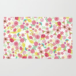 Rustic pink red yellow botanical roses flowers floral pattern Rug
