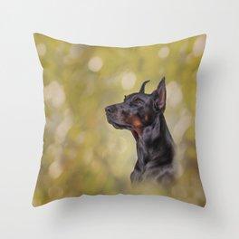 Drawing Doberman dog 2 Throw Pillow