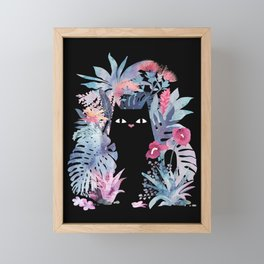 Popoki (Pastel Black Velvet) Framed Mini Art Print