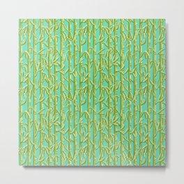 Green Bamboo Shoots Metal Print