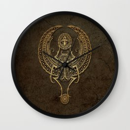 Stone Winged Egyptian Scarab Beetle with Ankh Wall Clock