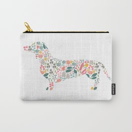 Dachshund Floral Watercolor Art Carry-All Pouch