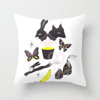 et Throw Pillows featuring Le Lièvre et le Renard by Esthera Preda