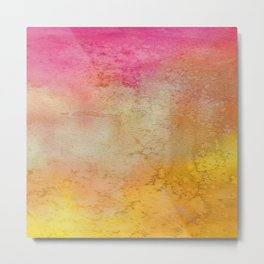 Abstract hand painted pink orange yellow grunge watercolor Metal Print