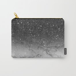 Stylish faux black glitter ombre white marble pattern Carry-All Pouch