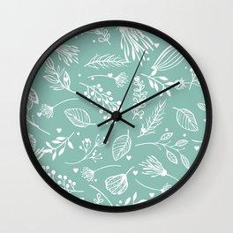 Mint floral Wall Clock