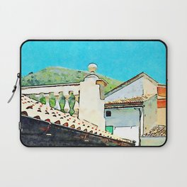 Glimpse with buildings, balustrade, roof and mountain Laptop Sleeve