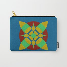 Flower Circles on Dark Blue Color Carry-All Pouch