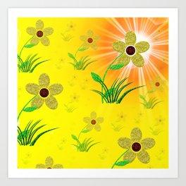 flower,abstract pattern in metal Art Print