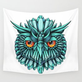 Crystal Owl Blue Wall Tapestry