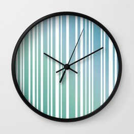 Chalky Pale ocean green stripes Wall Clock