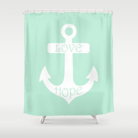 love hope anchor mint green shower curtain by beautiful homes