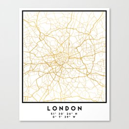 LONDON ENGLAND CITY STREET MAP ART Canvas Print