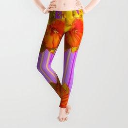 GOLDEN DAFFODILS PURPLE VIOLET MODERN ART Leggings