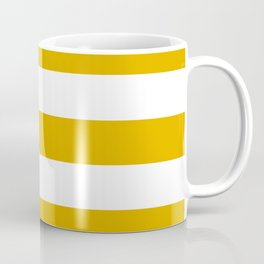 Mustard yellow - solid color - white stripes pattern Coffee Mug