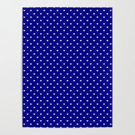 Mini White Love Hearts on Australian Flag Blue Poster