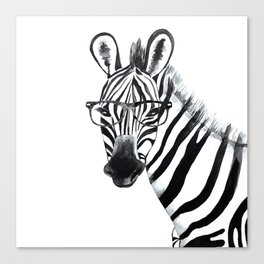 Zebra with glasses, black and white Canvas Print