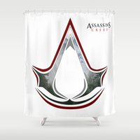 assassins creed Shower Curtains featuring Assassin's Creed - Woodland by Fatih