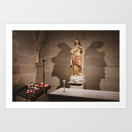 Shadows of Jesus on a Church Wall Art Print