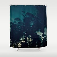 palms Shower Curtains featuring Palms by CloudedSunset