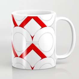 White Circles And Red Squares Abstract Geometric Pattern Coffee Mug