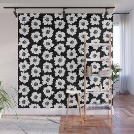 Linocut botanical nature floral flower art nursery black and white decor newborn Wall Mural
