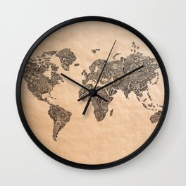 Henna Ink World Map Wall Clock