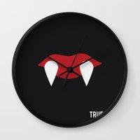 true blood Wall Clocks featuring True Blood - Minimalist by Marisa Passos