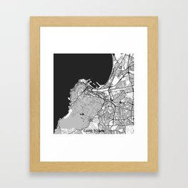 Cape Town Map Gray Framed Art Print